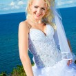 Beautiful bride on a sea coast — Stock Photo