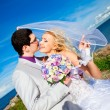 Tender kiss of happy groom and bride on a sea coast — Stok fotoğraf