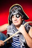 Einäugige Piraten Cocked Hut und ein Seil — Stockfoto