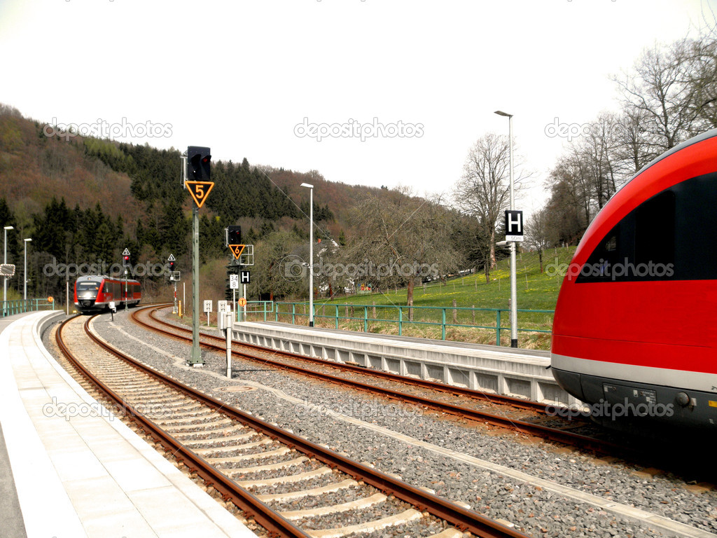 Oncoming traffic in the Zschopautal in Saxon Erzgebirge; arrival of two trains — Stock Photo #9445755