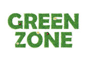 Green zone text with grass — Stock Vector