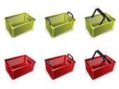 3D Plastic shopping basket — Stock Vector