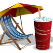 Royalty-Free Stock Vector Image: Beach chair with umbrella and drink