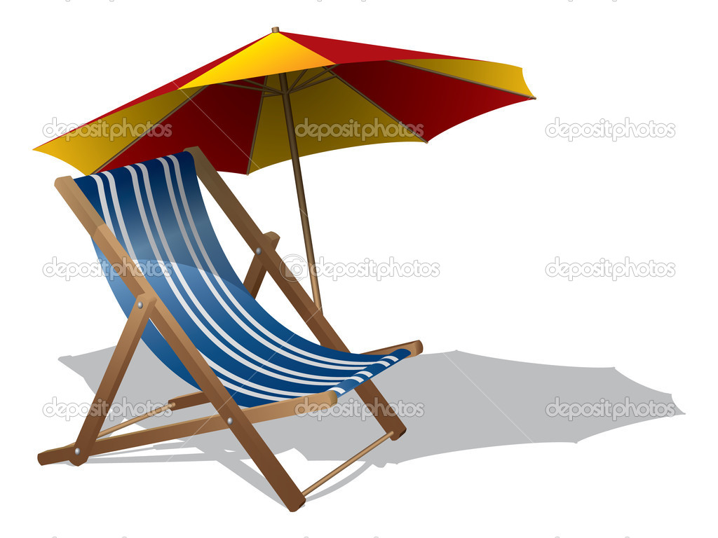 Beach chair with umbrella — Stock Vector #9692459