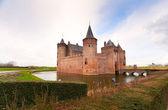 Dutch castle on the lake — Stock Photo