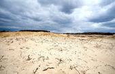 Sandy desert before storm — Stock Photo