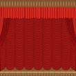 Theater scene with columns and a red curtain — Stock Vector