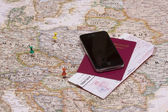 Map and pins — Stock Photo