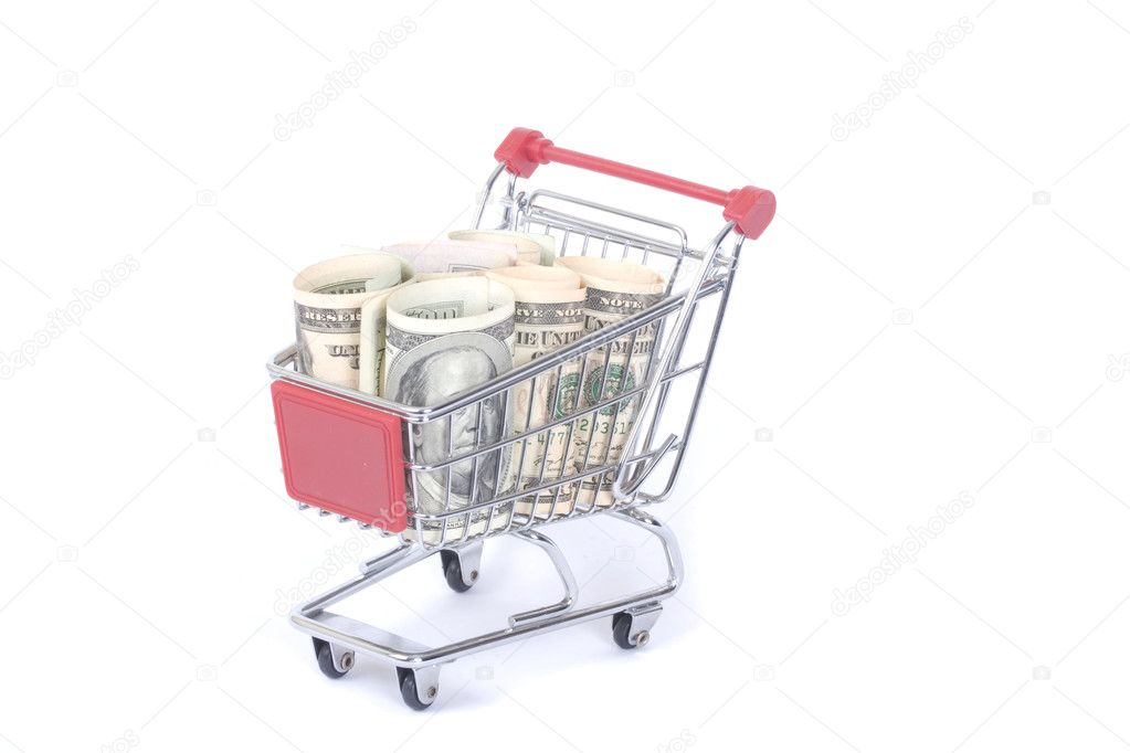 Dollars in the shopping cart  — Stock Photo #9012887