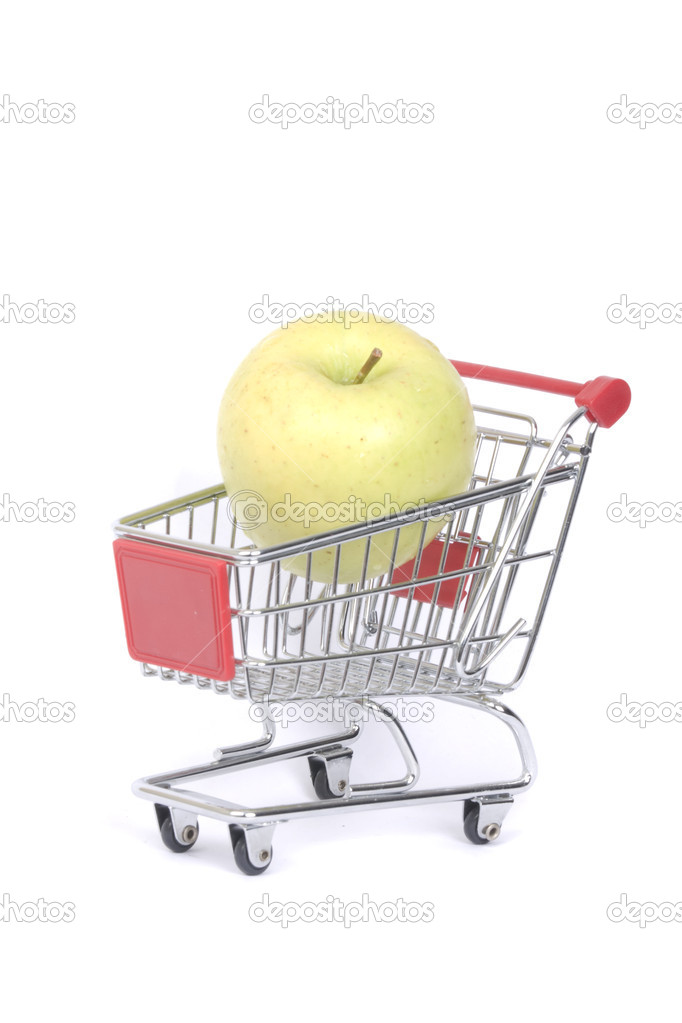 Buying apples at the supermarket  isolated  — Stock Photo #9012915