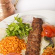 Turkish traditional kebab specials ready to serve with ayran - Stock Photo