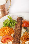 Turkish traditional kebab specials ready to serve with ayran — Stock Photo