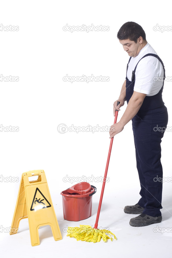 Cleaner is mopping floor — Stock Photo #9871091