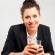 Smiling Woman Holding Glass of Chocolate Drink — ストック写真