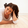 Woman Lying on the Floor at Home — Stock Photo #10167999
