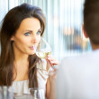 Attractive Woman Sipping Wine — Stock Photo