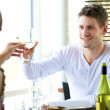 Couple Celebrating Something at a Restaurant — Stock Photo