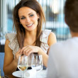 Gorgeous Woman Smiling at Her Date — Stock Photo