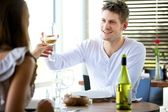 Couple Toasting Glasses of Wine — Stock Photo