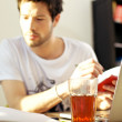 Student Studying With Drink — Stock Photo