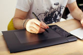 Using Touchpad Graphics Tablet — Stock Photo
