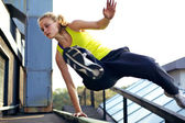 Parkour Technique Vaulting Railing — Stock Photo