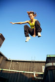 Traceur Demonstrating Parkour — Stock Photo