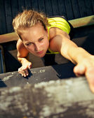 Traceur Participating In Parkour Wall — Stock Photo