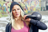 Portrait fitness woman with weight — Stock Photo