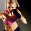 Woman Boxing in Gym — Stock Photo
