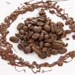 Surrounded coffee beans — Stock Photo