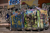 Tagged trash cans — Stock Photo