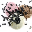 Tricolor scoops with licorice — Stock Photo