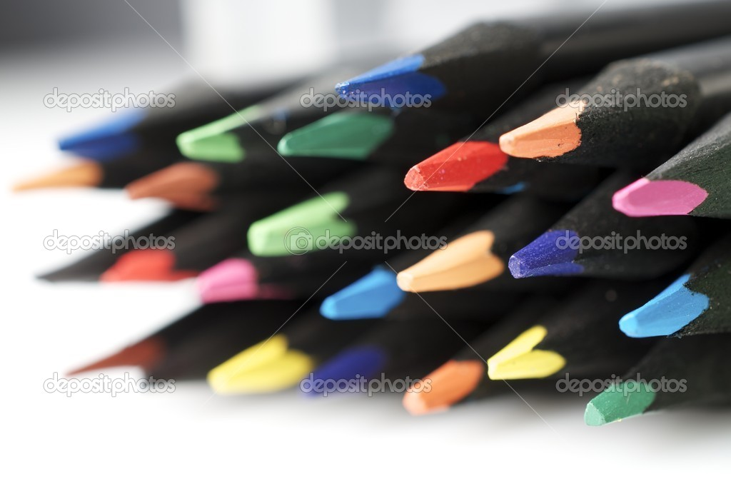 Forefront of a group of colored pencils — Stock Photo #8663530
