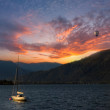 Colorful sunset on Lake - Stock Photo