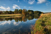 Landscape of the river with reflections — Stock Photo