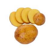 Patata entera y rebanada — Foto de Stock