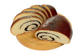 Slice and half poppy seed roll — Stockfoto