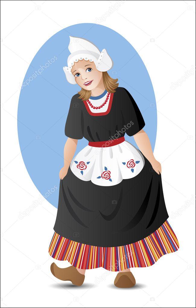 Ulusal kostüm Hollandalı kız — Stok Vektör © alexandragl