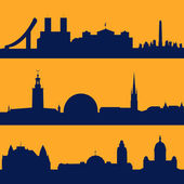 Seamless patterns of Scandinavian capitals — Stock Vector
