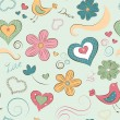 Seamless pattern with hearts and flowers — Stock Vector