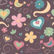 Cartoon seamless pattern with hearts and flowers — Stock Vector #8855773