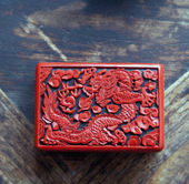 Chinese lacquer red archaic — Stock Photo