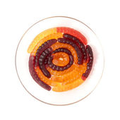 A circle of isolated jelly worms — Stock Photo