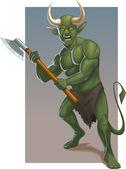 Demone verde arrabbiato con ascia — Vettoriale Stock