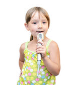 The Child and microphone — Stock Photo