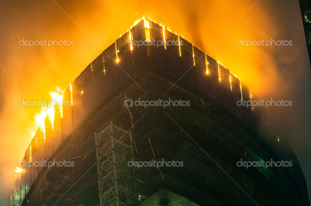 Fire in Moscow City. Federation tower — Stock Photo #10569805