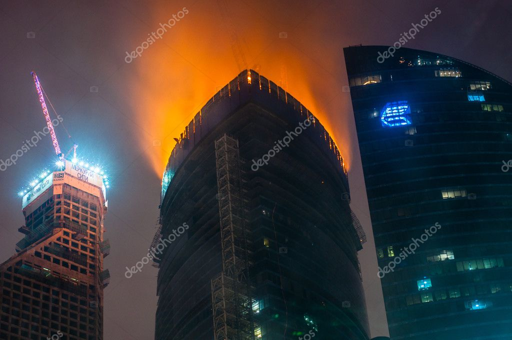 Fire in Moscow City. Federation tower  Stock Photo #10569813