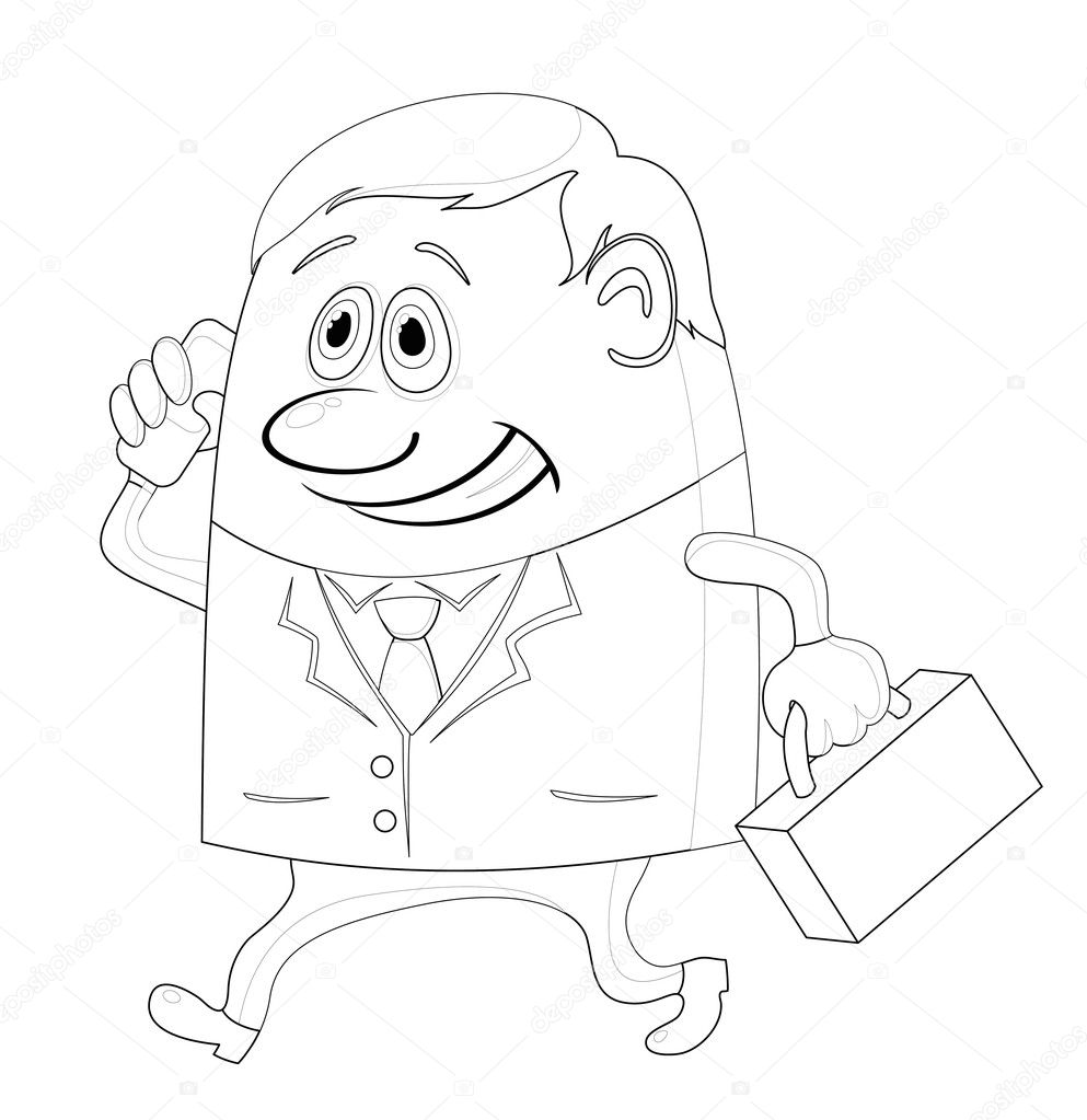 Businessman with a suitcase, happy smiling and running funny cartoon character, contour. Vector — Stock Vector #10059315