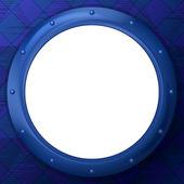 Frame round porthole on blue background — Stock Photo